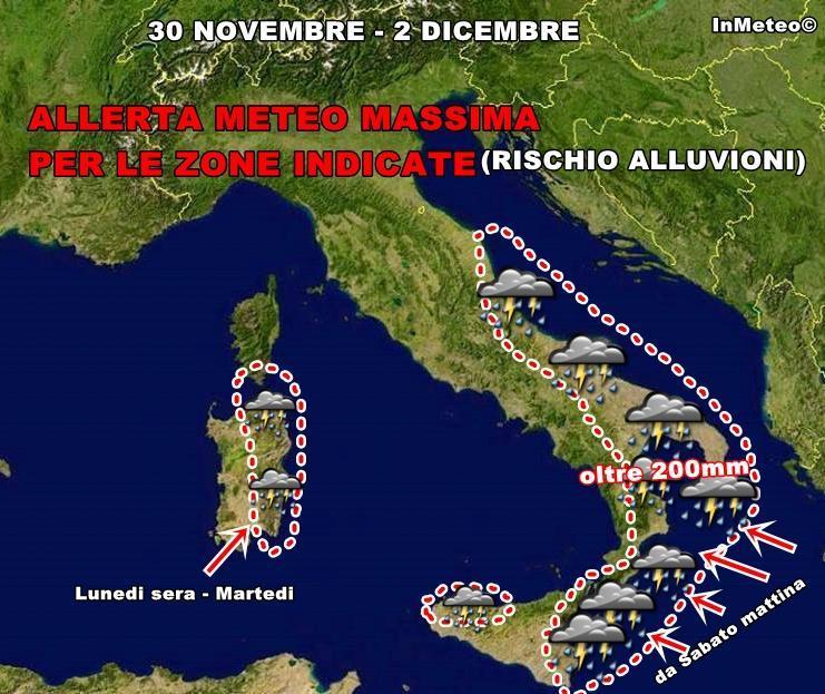 Allerta meteo massima : piogge molto forti in arrivo sul Sud Italia. Ecco i settori a rischio episodi alluvionali