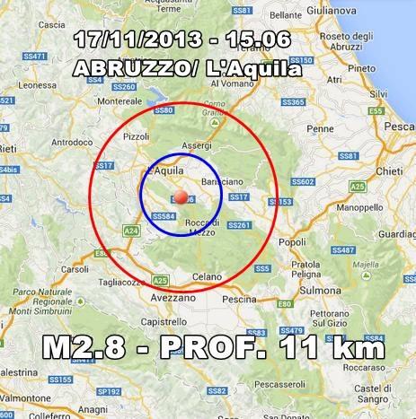 Terremoto oggi L'Aquila: scossa avvertita in Abruzzo - 17 Novembre 2013