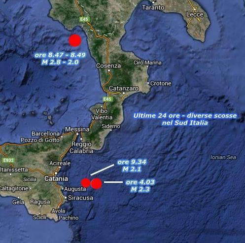 Diverse scosse nelle ultime ore al Sud Italia