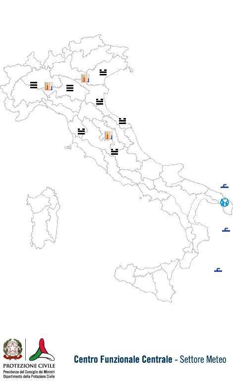 Previsioni meteo 12 Dicembre 2013 Italia: Bollettino della Protezione Civile. Fonte: www.protezionecivile.gov.it