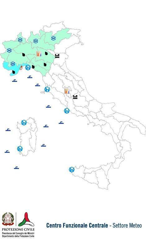 Previsioni meteo 19 Dicembre 2013 Italia: Bollettino della Protezione Civile. Fonte: www.protezionecivile.gov.it