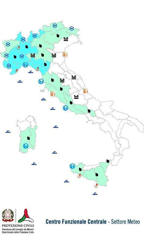 Previsioni meteo 20 Dicembre 2013 Italia: Bollettino della Protezione Civile. Fonte: www.protezionecivile.gov.it