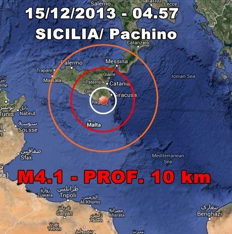 Terremoto Sicilia Oggi : scossa nettamente avvertita dalla popolazione in nottata