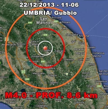 Terremoto Umbria 22 Dicembre 2013 : scossa nettamente avvertita in mattinata