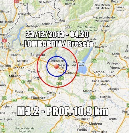 Terremoto Lombardia Oggi : scossa avvertita nel bresciano in nottata