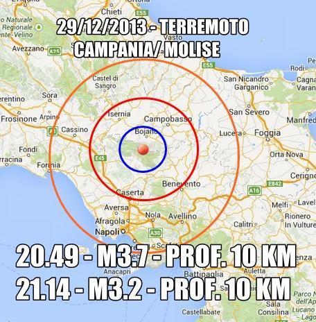 Due nuove scosse avvertite in Campania e Molise , dati INGV