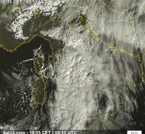 Maltempo : ecco la perturbazione in transito sul Centro italia, vista dal Satellite