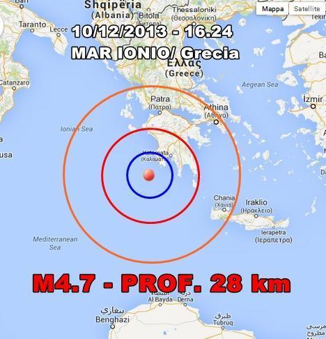 Terremoto Mar Ionio Oggi : scossa nettamente avvertita in Grecia
