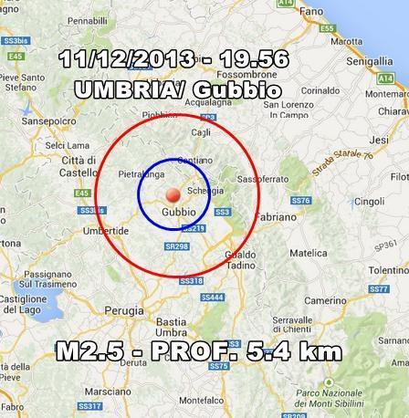 Terremoto Umbria Oggi : scossa avvertita a Gubbio