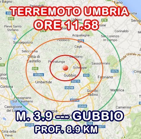 Terremoto Gubbio oggi: scossa intensamente avvertita in Umbria - 18 Dicembre