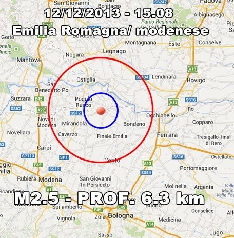 Terremoto Emilia Romagna oggi: scossa fra Mirandola e Finale Emilia