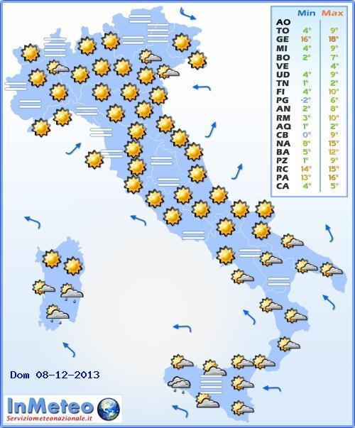 L'Italia sotto il sole il giorno dell'Immacolata