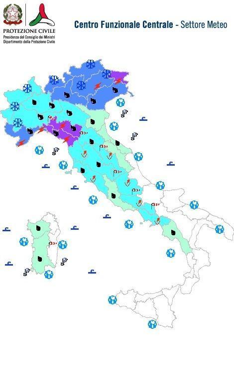 Previsioni meteo 4 Gennaio 2014 Italia: Bollettino della Protezione Civile. Fonte: www.protezionecivile.gov.it