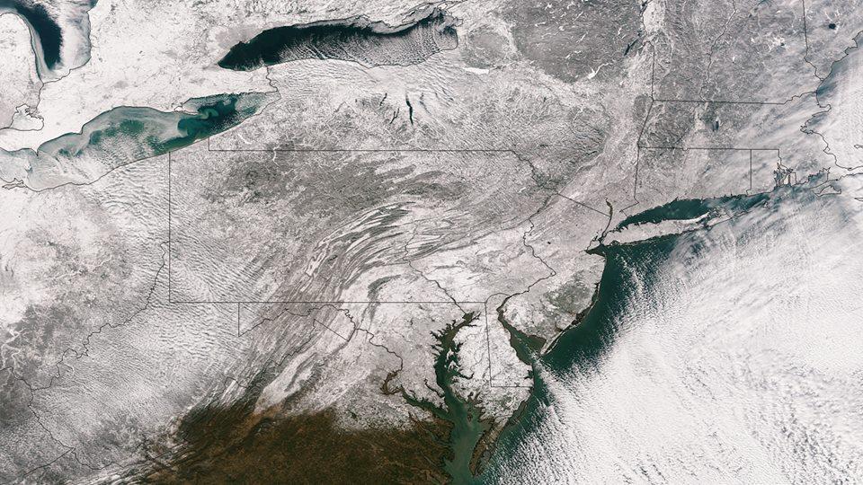 Ecco come si presentano gli Stati Uniti dopo l'ondata di gelo appena passata - Immagine del Satellite