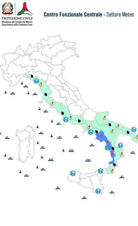Previsioni meteo 22 Gennaio 2014 Italia: Bollettino della Protezione Civile. Fonte: www.protezionecivile.gov.it