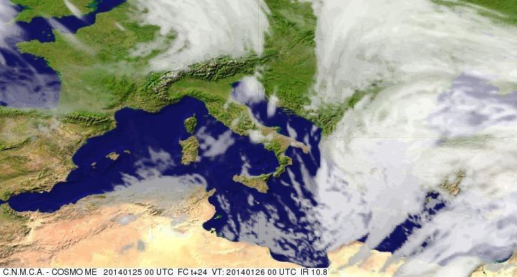Previsioni Meteo Aeronautica Militare Domenica 26 Gennaio 2014. Fonte: meteoam.itder