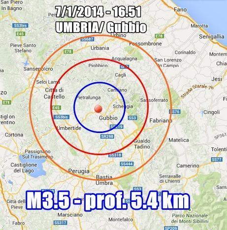 Terremoto Umbria : scossa nettamente avvertita a Gubbio