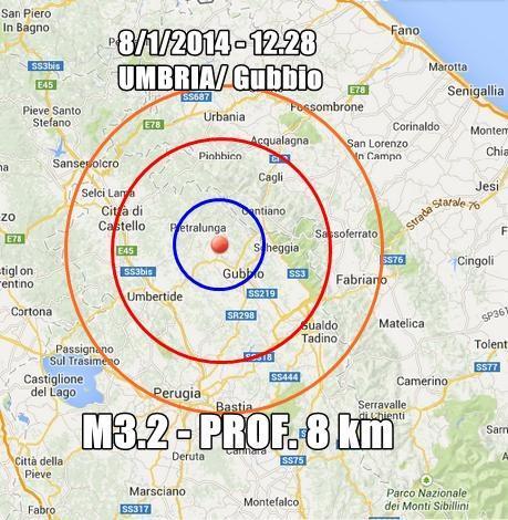 Terremoto Gubbio 8 Gennaio 2014 : scossa ben avvertita oggi