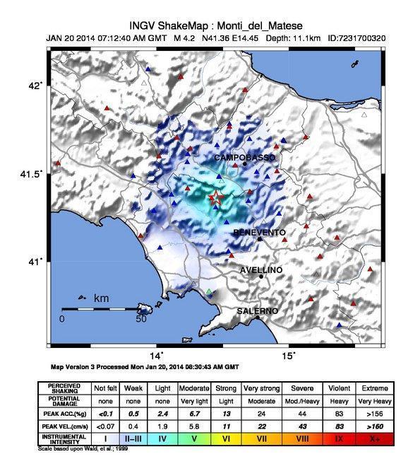 Terremoto nel Matese, ecco la ShakeMap dell'INGV