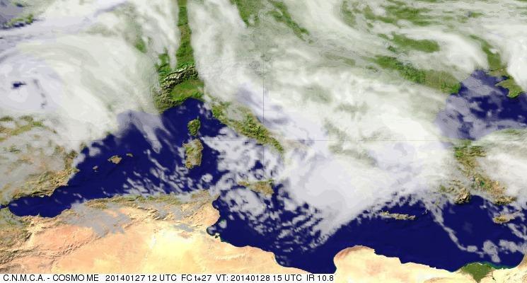 Previsioni Meteo Aeronautica Militare Martedì 28 Gennaio 2014. Fonte: meteoam.itder