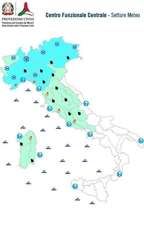 Previsioni meteo 7 Febbraio 2014 Italia: Bollettino della Protezione Civile. Fonte: www.protezionecivile.gov.it