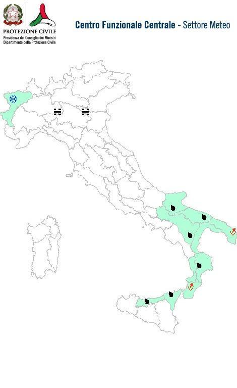 Previsioni meteo 24 Febbraio 2014 Italia: Bollettino della Protezione Civile. Fonte: www.protezionecivile.gov.it