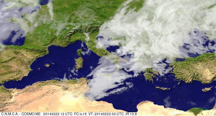 Previsioni Meteo Aeronautica Militare Domenica 23 Febbraio 2014. Fonte: meteoam.itder