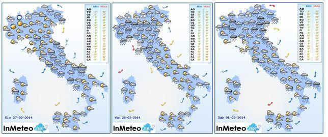 Previsioni meteo 26/27/28 Febbraio 2014 elaborate da InMeteo.net