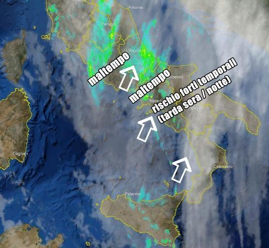 Forte maltempo al Sud nelle prossime ore (Radar della Protezione Civile ore 19.30)