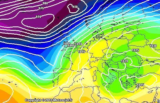 Previsioni Meteo : tempo stabile ma più freddo nei prossimi giorni - Mappa gfs
