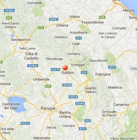 Scossa di terremoto a Gubbio, oggi 5 Febbraio 2014: i dati INGV