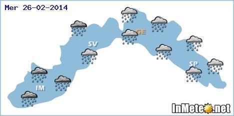 Previsioni meteo Liguria 26 Febbraio : piogge diffuse, piu' intense sui settori occidentali