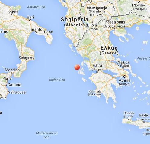 Terremoto oggi Grecia 15 Febbraio 2014: intensa scossa fra Sud Italia e Cefalonia