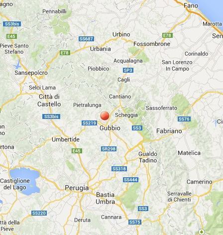 Terremoto oggi Gubbio (Umbria) 16 Febbraio 2014: scossa lievemente avvertita