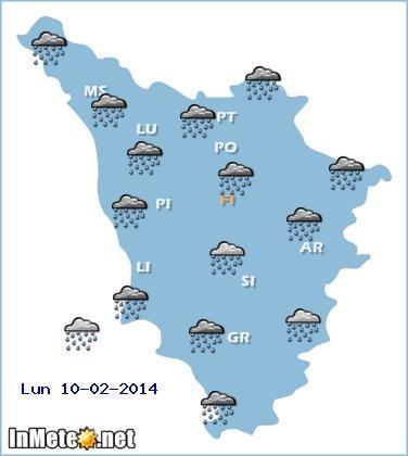 Allerta meteo Toscana: attesi nubifragi domani 10 Febbraio 2014