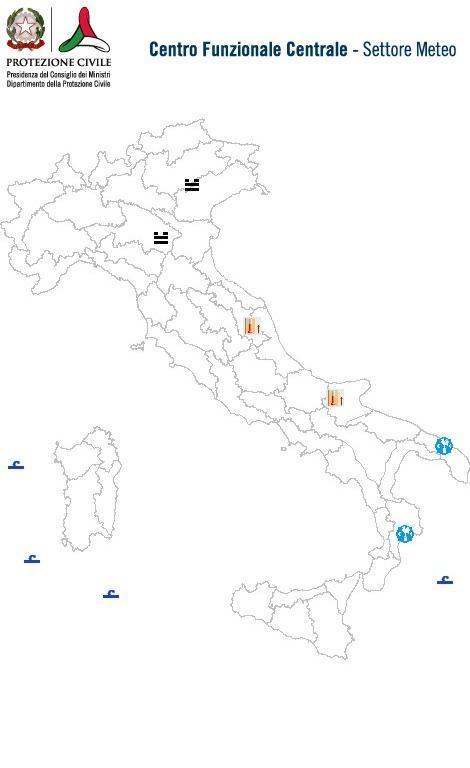Previsioni meteo 17 Marzo 2014 Italia: Bollettino della Protezione Civile. Fonte: www.protezionecivile.gov.it
