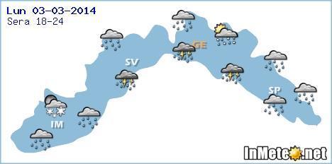 Liguria, previsioni per la serata