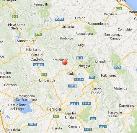Terremoto in Umbria oggi: scossa fra Gubbio, Città di Castello e Pietralunga
