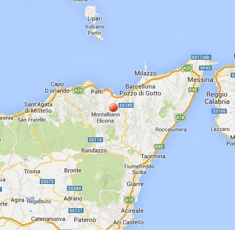 Scossa di terremoto fra Montalbano Elicona e Novara di Sicilia - oggi 8 Marzo 2014