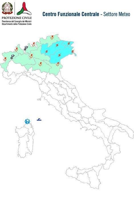 Previsioni meteo 8 Aprile 2014 Italia: Bollettino della Protezione Civile. Fonte: www.protezionecivile.gov.it