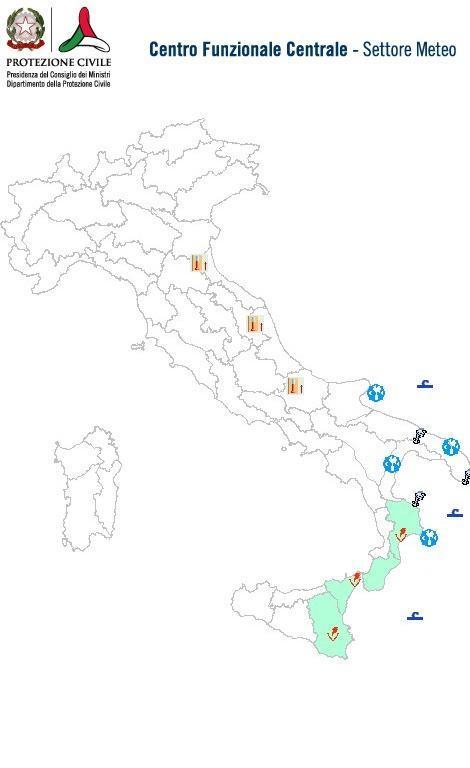 Previsioni meteo 10 Aprile 2014 Italia: Bollettino della Protezione Civile. Fonte: www.protezionecivile.gov.it
