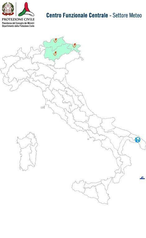 Previsioni meteo 9 Maggio 2014 Italia: Bollettino della Protezione Civile. Fonte: www.protezionecivile.gov.it