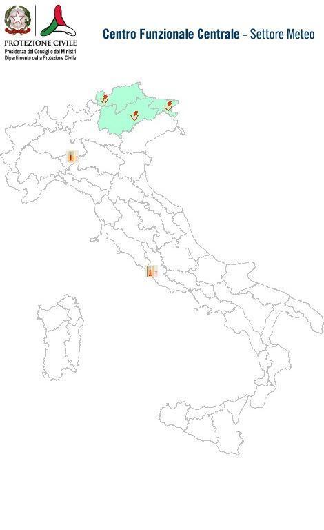 Previsioni meteo 7 Giugno 2014 Italia: Bollettino della Protezione Civile. Fonte: www.protezionecivile.gov.it
