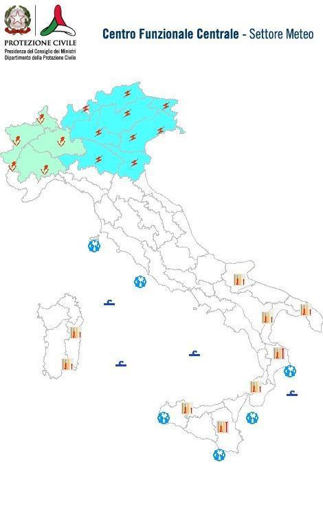 Previsioni meteo 24 Giugno 2014 Italia: Bollettino della Protezione Civile. Fonte: www.protezionecivile.gov.it