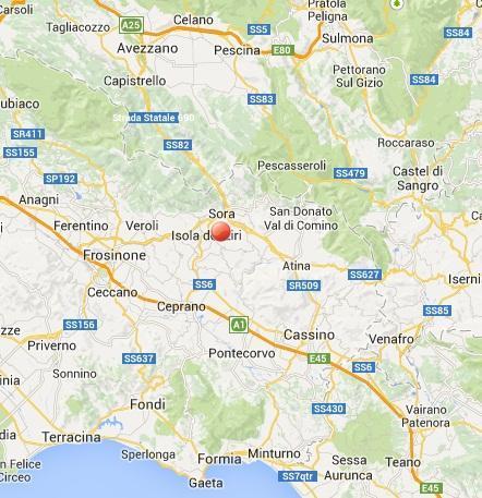 Terremoto nel Lazio oggi 14 Agosto: epicentro della scossa fra Sora, Isola del Liri