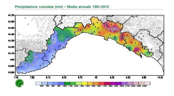 Dati pluviometrici medi per anno elaborati dall'ARPA Liguria