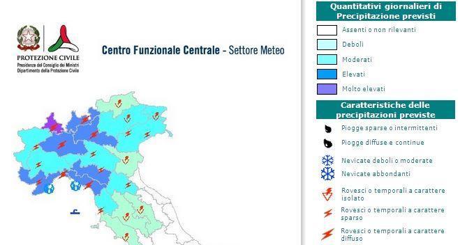 Mappa di allerta meteorologica emanata dalla protezione civile