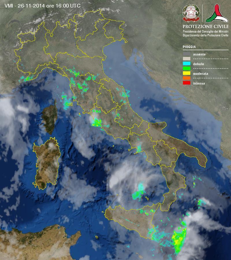 Situazione in atto: piogge e temporali sparse sull'Italia