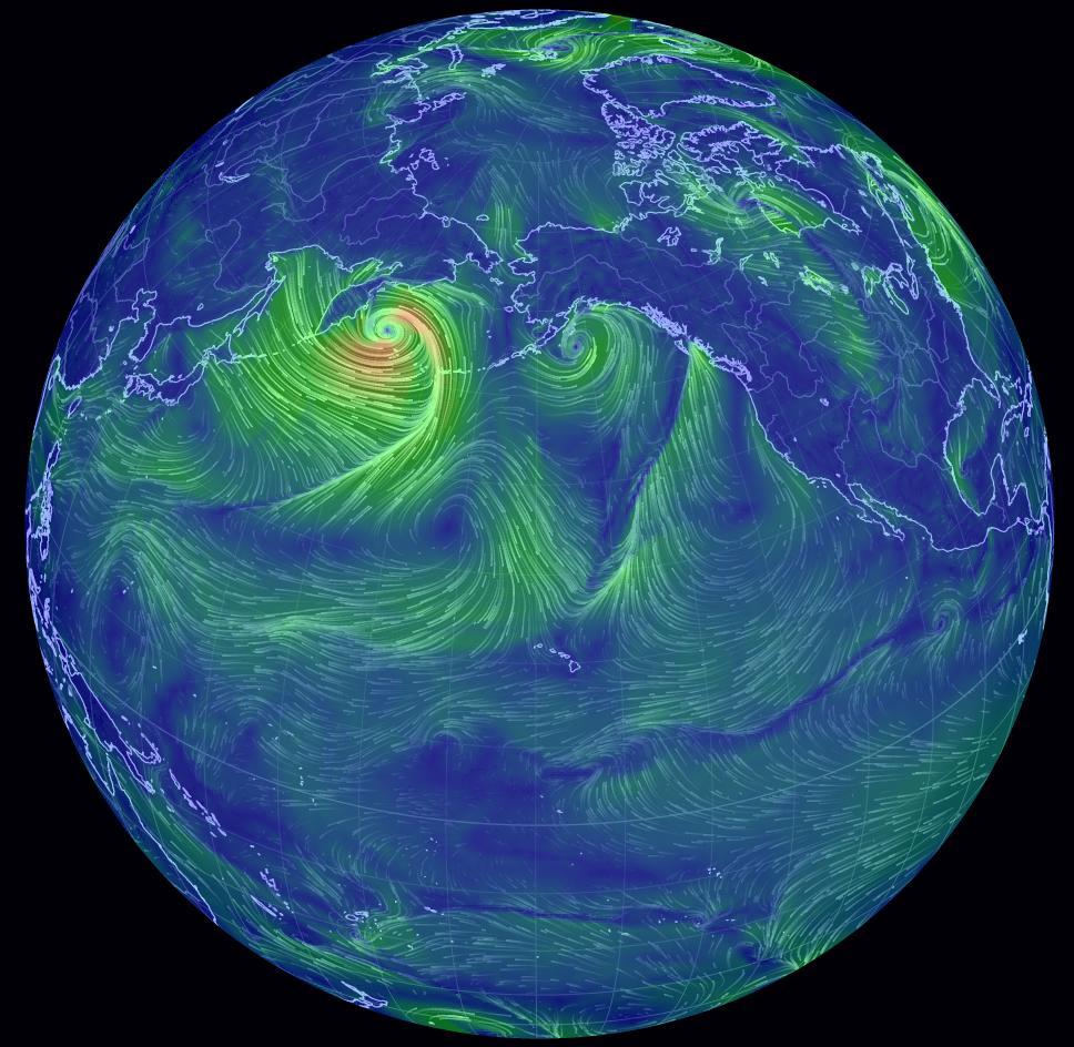 Record di bassa pressione nel Nord Pacifico: toccati 918 mb dall'ex uragano Nuri