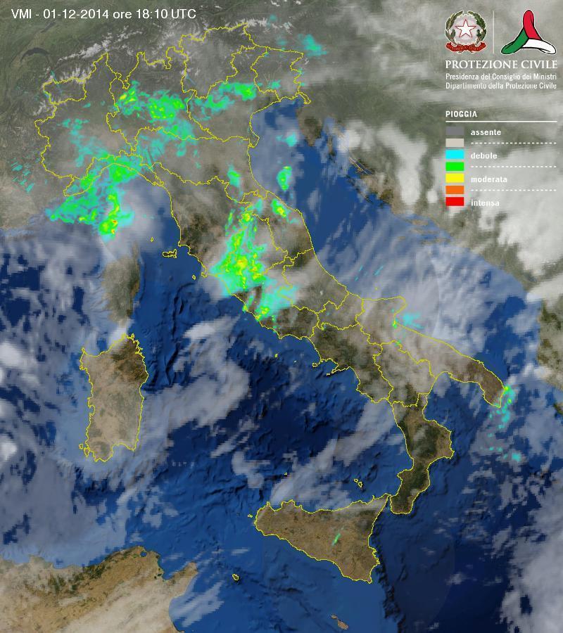 Situazione meteo in atto: intense piogge al Centro Nord